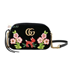 Gucci GG Marmont Matelasse Embroidered Velvet Bag